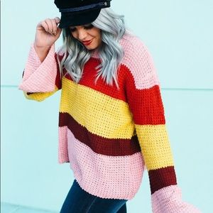 Sweaters - Color Block Bell Sleeve Sweater